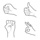 Hands signals. Over white background vector illustration Royalty Free Stock Photography
