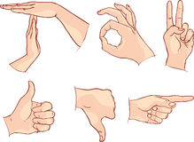 Hands signals on white background - Vector illustration Royalty Free Stock Image
