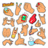 Hands Signs with Ok, Victory, Rock for Prints. Hands Signs with Ok Victory Rock for Prints, Badges, Patches, Stickers. Vector Doodle Stock Photo