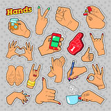 Hands Signs with Ok, Victory, Rock for Prints, Badges, Patches, Stickers. Hands Signs with Ok Victory Rock for Prints Badges Patches, Stickers. Vector Doodle Stock Image