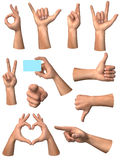 Hands signs. Series of different hands signs Royalty Free Stock Photo