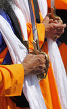 Hands of the Sikh religious men during the ceremony. Detail of the hands of the Sikh religious men during the ceremony Royalty Free Stock Image