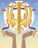 Hands with sikh symbol Royalty Free Stock Photo