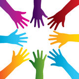 Hands silhouette colorful Stock Images