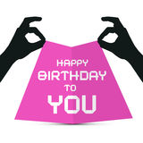 Hands Silhouette holding Pink Paper. With Happy Birthday to You Title Stock Photos