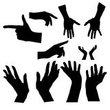Hands silhouette. Upper limb man. Left, right. Index finger. Different versions of the shadows . Icons set . Royalty Free Stock Photography