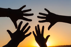 Hands Silhouetted Sunset Royalty Free Stock Images