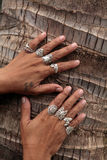 Hands and silver rings Royalty Free Stock Images