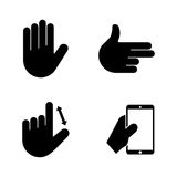 Hands. Simple Related Vector Icons. Set for Video, Mobile Apps, Web Sites, Print Projects and Your Design. Black Flat Illustration on White Background Stock Photography