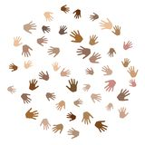 Hands with skin color diversity vector background. Solidarity concept icons, social, national, racial issues symbols. Helping hand prints, human palms stock illustration
