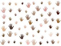 Hands with skin color diversity vector graphic design. Community concept icons, social, national, racial issues symbols. Helping hand prints, human palms stock illustration