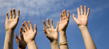 Hands and the sky Stock Photography