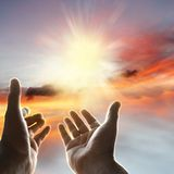 Hands in sky. Hands reaching for the sky Royalty Free Stock Photo