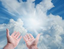 Hands in sky. Hands reaching for the sky Royalty Free Stock Image