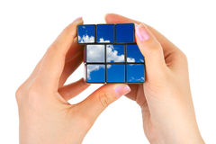 Hands with sky puzzle Stock Image