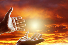 Hands in sky Royalty Free Stock Image
