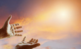 Hands in sky. Hands reaching for the sky Royalty Free Stock Photography