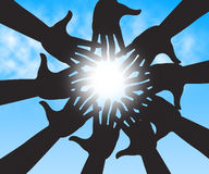 Hands In Sky Shows Togetherness Human And Relations Royalty Free Stock Image