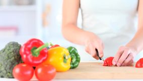 Hands slicing a tomato stock footage