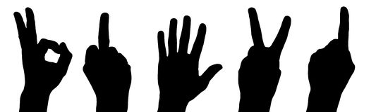 Hands slilhouettes. Different gestures with hands like a black silhouettes Stock Photography