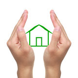 Hands and Small Cabin Royalty Free Stock Images
