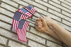 Hands Small Flags Royalty Free Stock Image