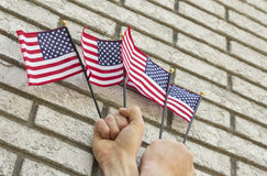 Hands Small Flags Stock Photo