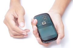Hands with smart phone Royalty Free Stock Photos