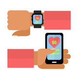 Hands with smart phone and watch. Hands with smart phone and watch the pulse measurement. flat design Stock Photo