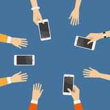 Hands with smart phones. Hands with phones top view  illustration Stock Photo