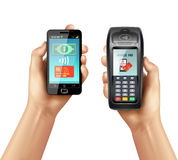 Hands With Smartphone And Payment Terminal Royalty Free Stock Images