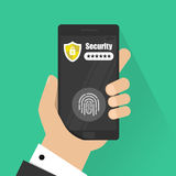 Hands with a smartphone unlocked with a fingerprint button and password notification of a vector, mobile phone security. Cellphone, access, user authentication Royalty Free Stock Image