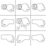 Hands with smartwatch icons Stock Images