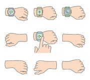 Hands with smartwatch icons Royalty Free Stock Photography