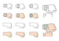 Hands with smartwatch icons Royalty Free Stock Photos