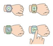 Hands with smartwatch icons Stock Image