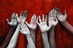 HANDS SMEARED WITH COLOUR Royalty Free Stock Image