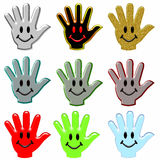 Hands with smiling faces Stock Photo