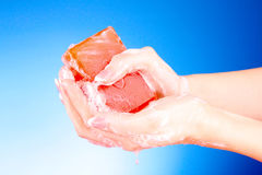 Hands with soap Royalty Free Stock Image