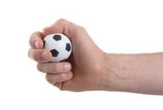 Hands with soccer ball Royalty Free Stock Image