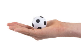 Hands with soccer ball Stock Photography