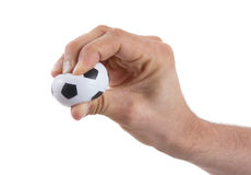 Hands with soccer ball Stock Images