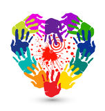 Hands and splash of hearts logo Royalty Free Stock Photo