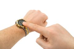 Hands and sport watch royalty free stock photos