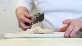 Hands spread tuna sauce in sandwich. Chef hands spread tuna sauce in sandwich stock video