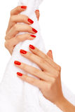 Hands squeezing towel Stock Image