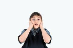 hands stängda öron för pojke hans royaltyfri fotografi