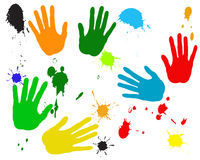 Hands and stain of a paint. Silhouettes of hands and splashes of a paint Royalty Free Stock Photos