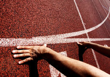 Hands on starting line Royalty Free Stock Photo