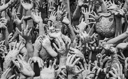 Hands statue from hell in Wat Rong Khun. Wat Rong Khun,Chiang Rai Thailand Royalty Free Stock Photo